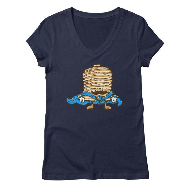 Captain Pancake's Mustache Women's V-Neck by nickv47