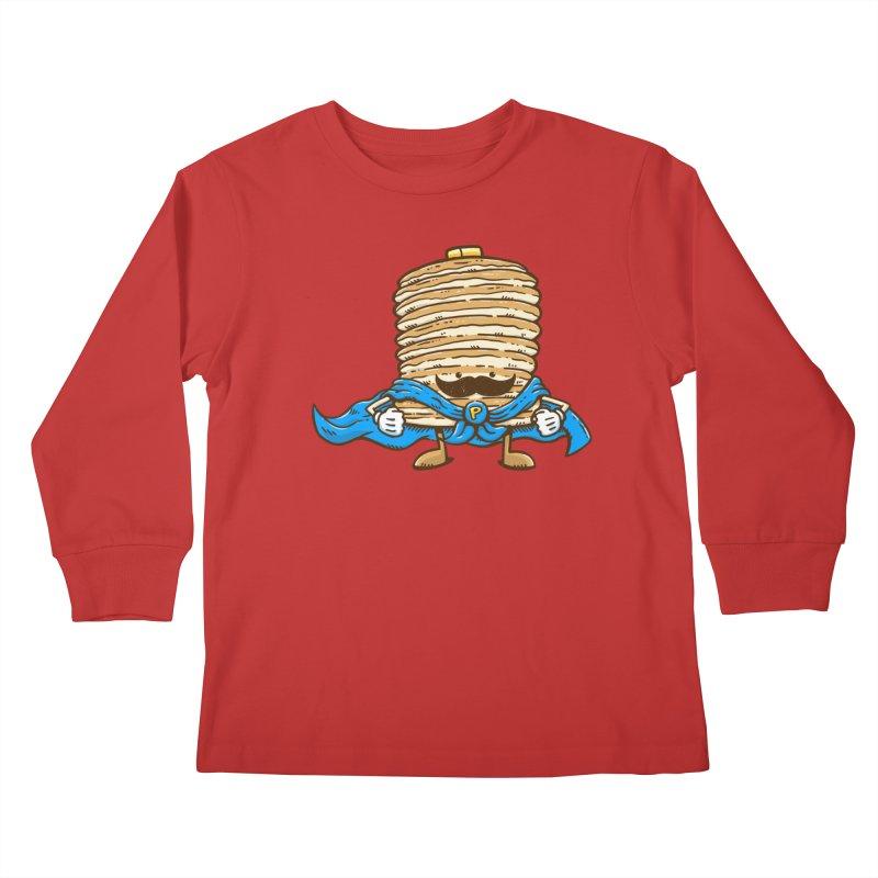 Captain Pancake's Mustache Kids Longsleeve T-Shirt by nickv47