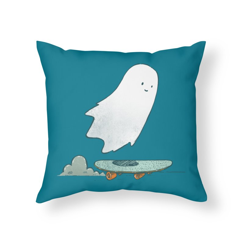 The Ghost Skater Home Throw Pillow by nickv47