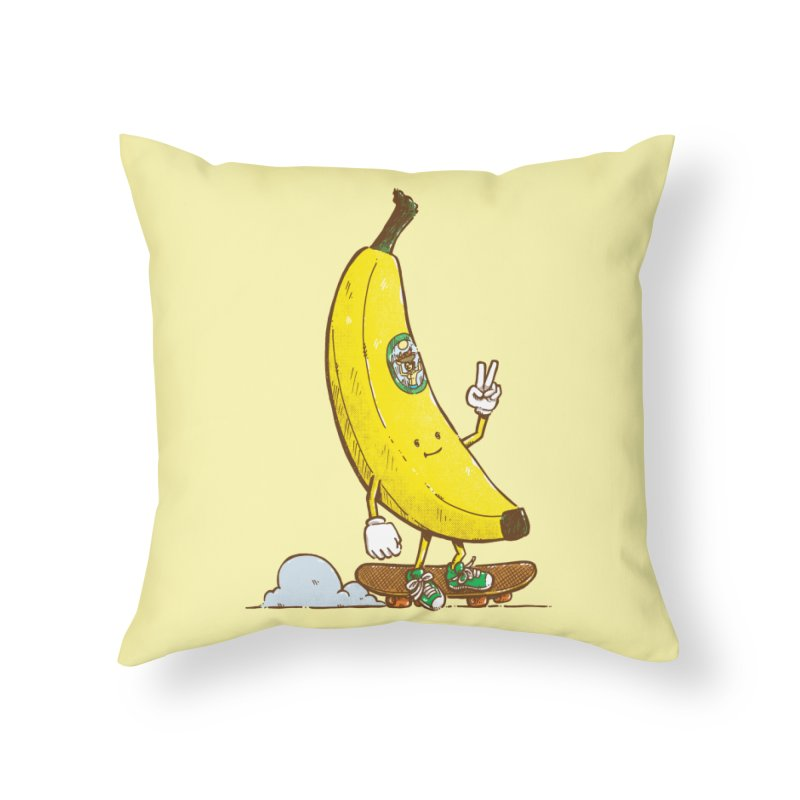 The Banana Skater Home Throw Pillow by nickv47