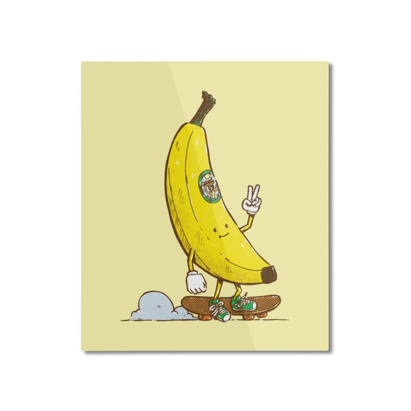 The Banana Skater Home Mounted Aluminum Print by nickv47
