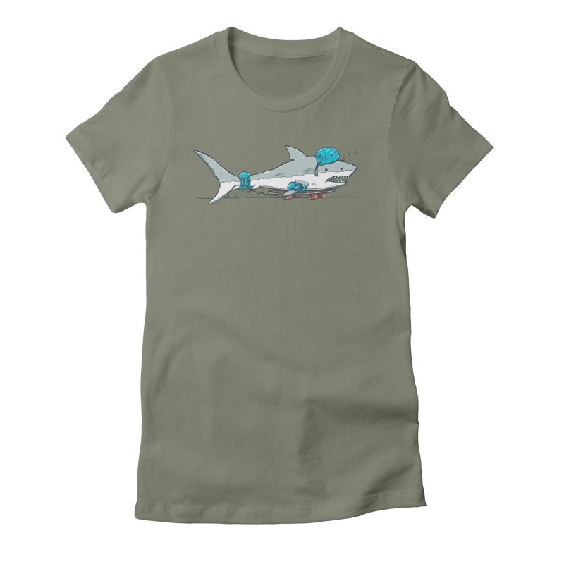 The Shark Skater Women's Fitted T-Shirt by nickv47