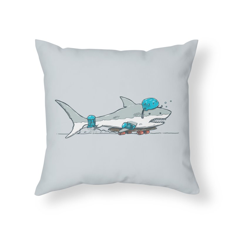 The Shark Skater Home Throw Pillow by nickv47