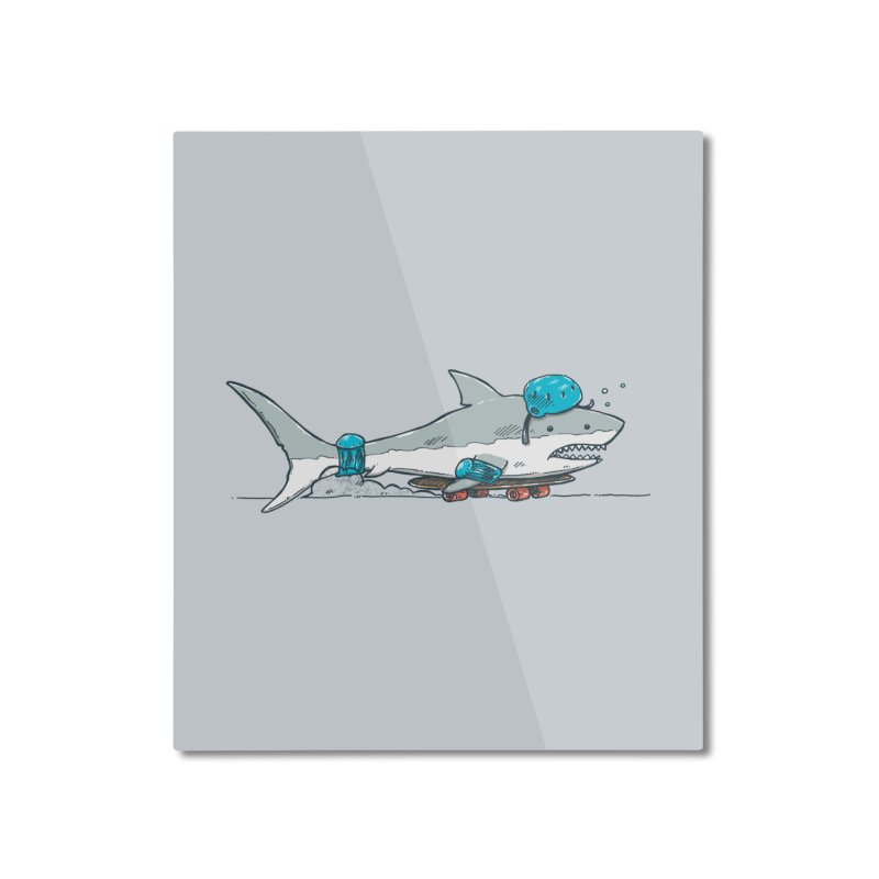 The Shark Skater Home Mounted Aluminum Print by nickv47