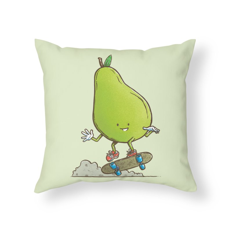 The Pear Skater Home Throw Pillow by nickv47
