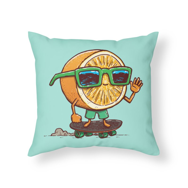 The Orange Skater Home Throw Pillow by nickv47