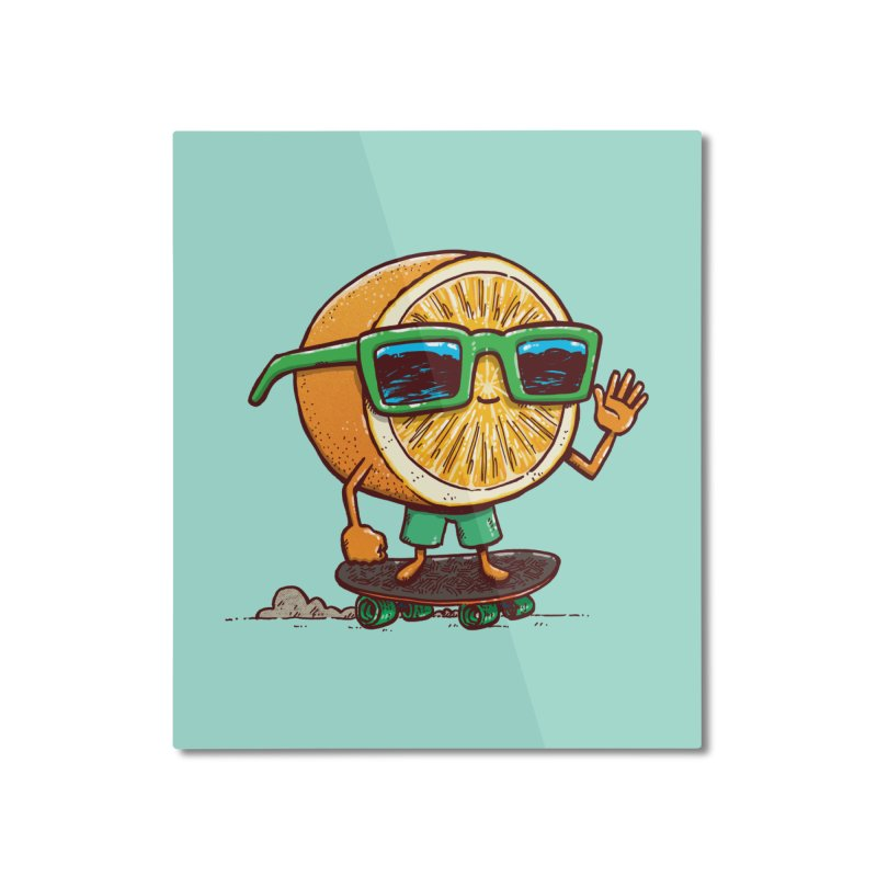 The Orange Skater Home Mounted Aluminum Print by nickv47