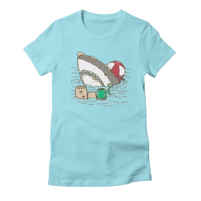 Sandy Beach Shark Women's Fitted T-Shirt by nickv47