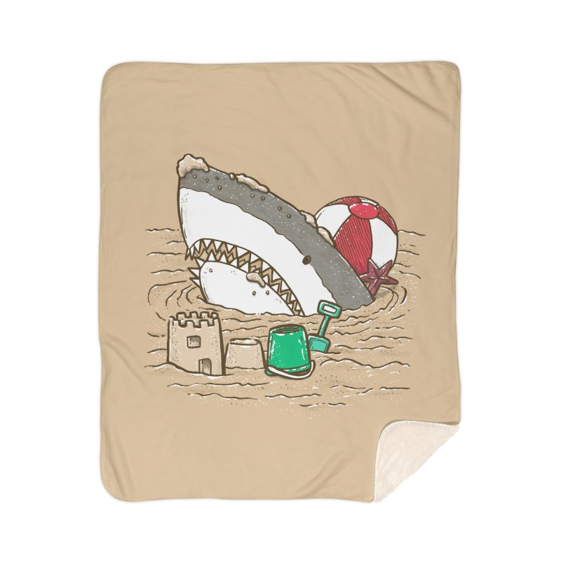 Sandy Beach Shark Home Sherpa Blanket Blanket by nickv47