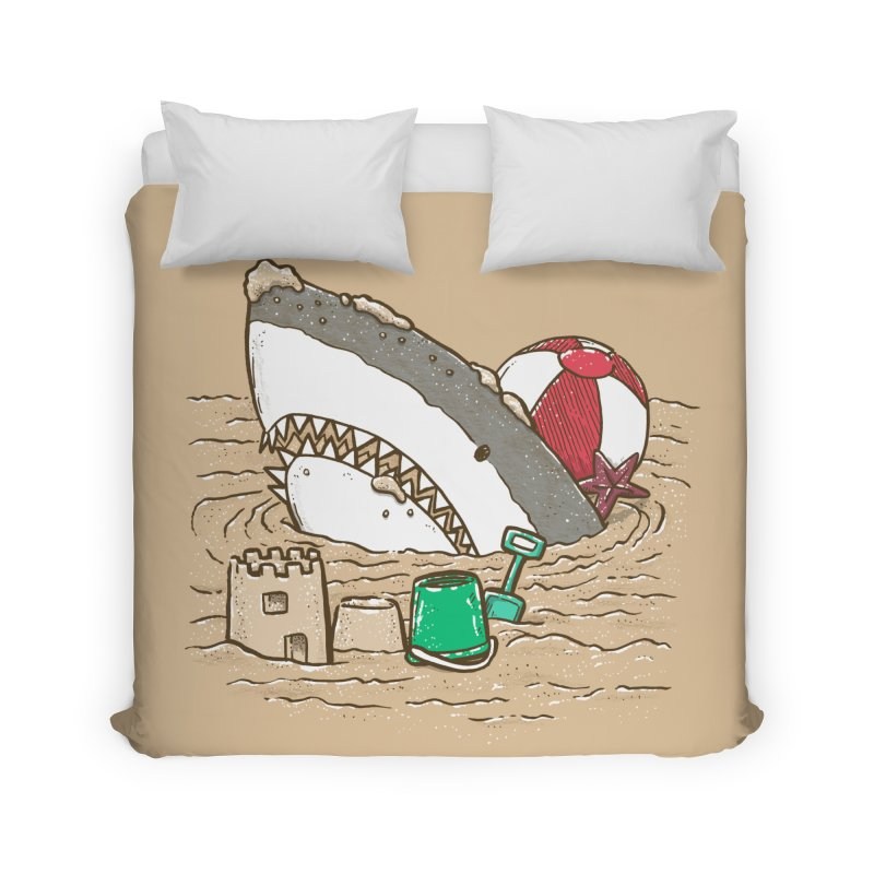Sandy Beach Shark Home Duvet by nickv47