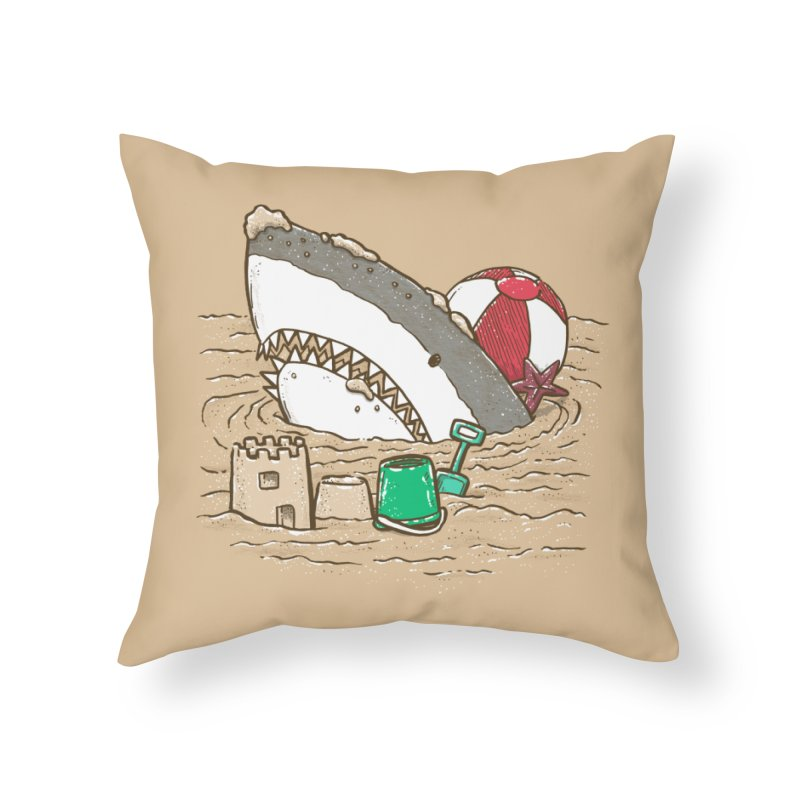 Sandy Beach Shark Home Throw Pillow by nickv47