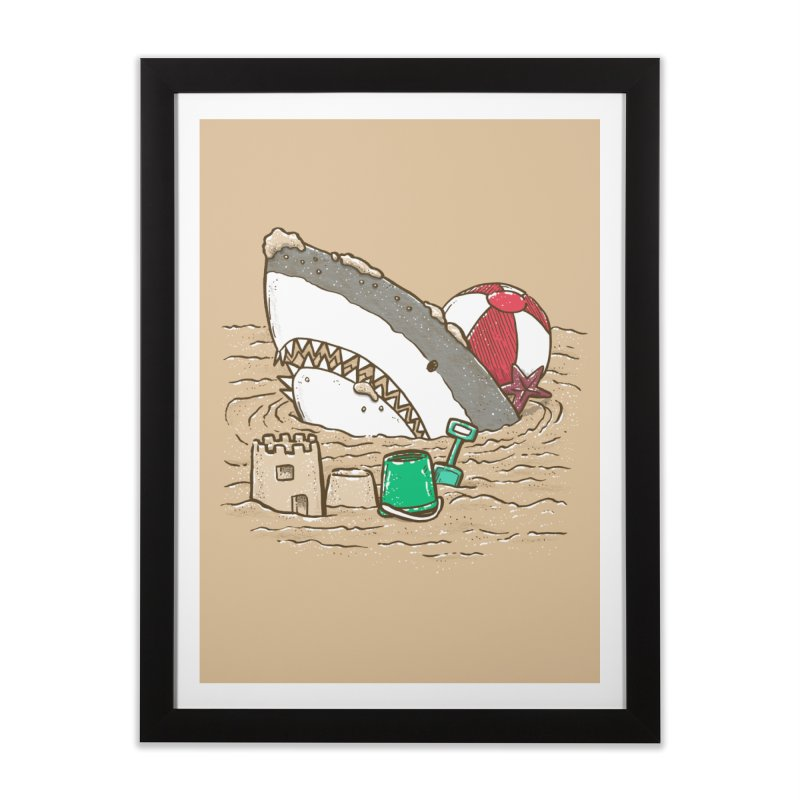 Sandy Beach Shark Home Framed Fine Art Print by nickv47