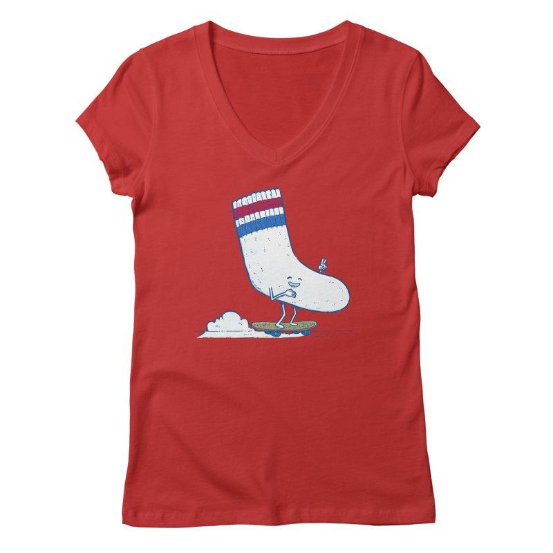 Lost Sock Skater Women's Regular V-Neck by nickv47