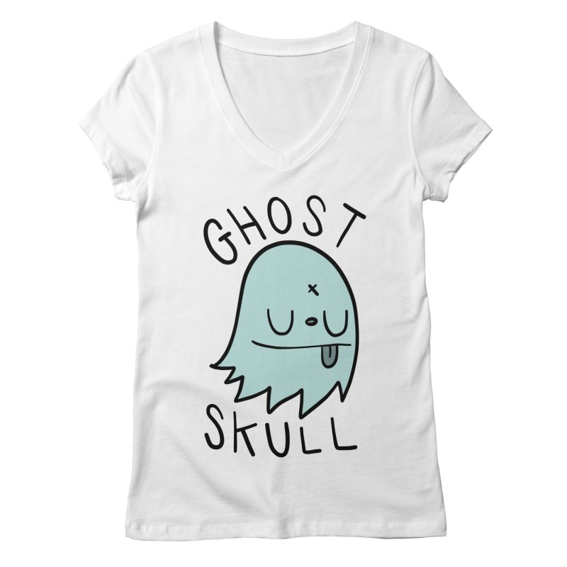 Ghost Skull Minty Fresh Women's Regular V-Neck by Nicky Davis Threadless Shop