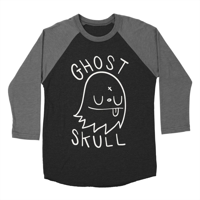 Ghost Skull White Men's Baseball Triblend Longsleeve T-Shirt by Nicky Davis Threadless Shop