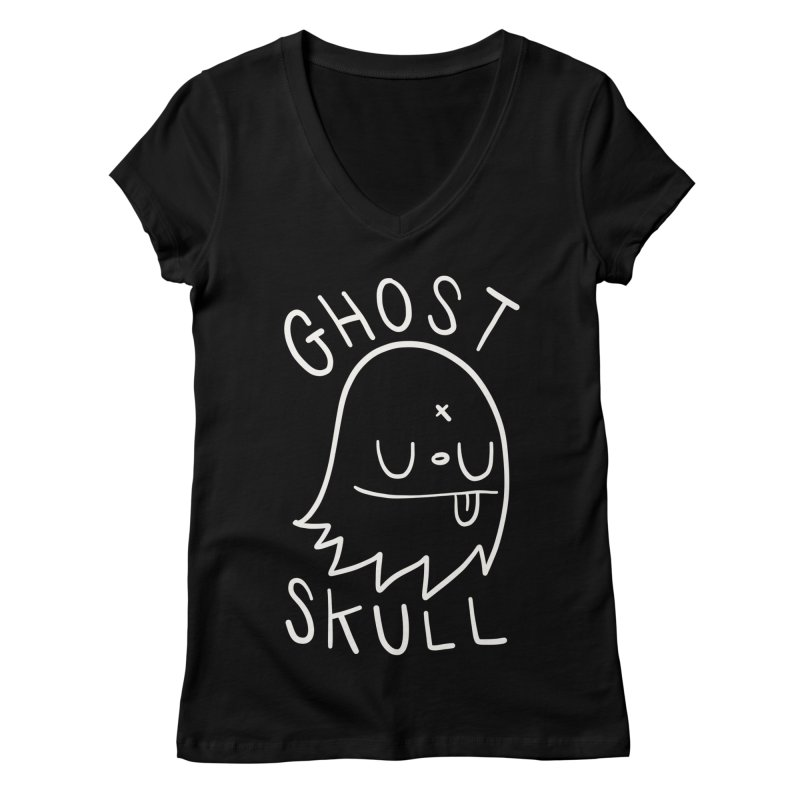 Ghost Skull White Women's Regular V-Neck by Nicky Davis Threadless Shop