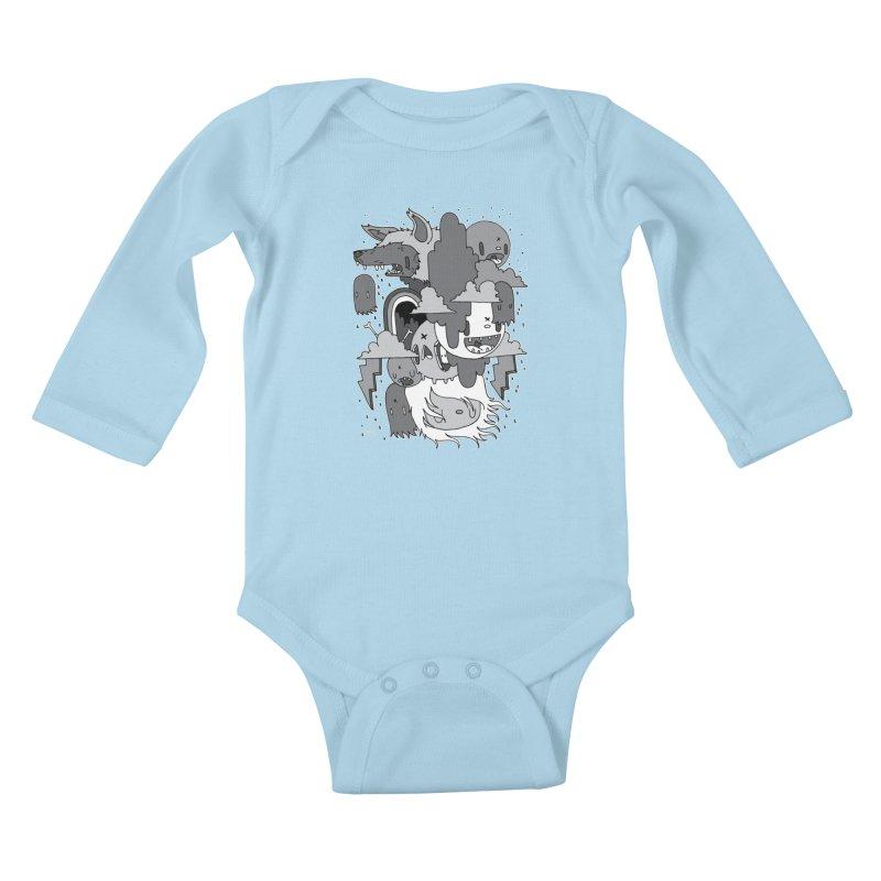 Rainy Day - Gray Kids Baby Longsleeve Bodysuit by Nicky Davis Threadless Shop