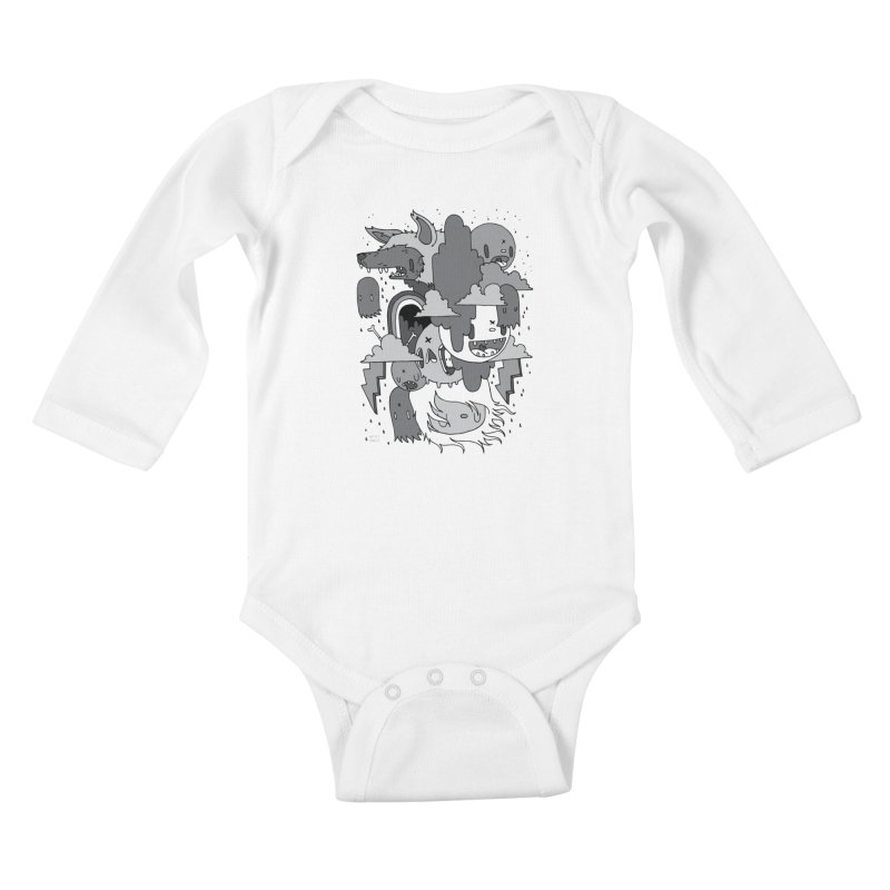 Rainy Day - Gray Kids Baby Longsleeve Bodysuit by Nicky Davis Threadless Shop