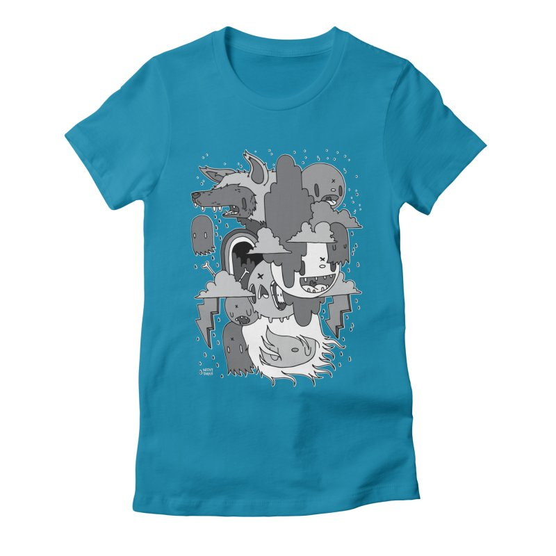 Rainy Day - Gray Women's Fitted T-Shirt by Nicky Davis Threadless Shop