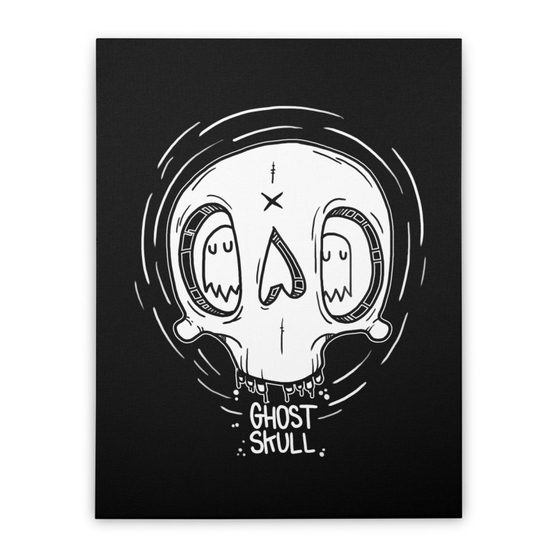Ghost Skull In Your Head Home Stretched Canvas by Nicky Davis Threadless Shop