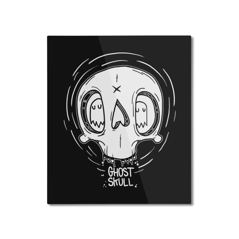 Ghost Skull In Your Head Home Mounted Aluminum Print by Nicky Davis Threadless Shop