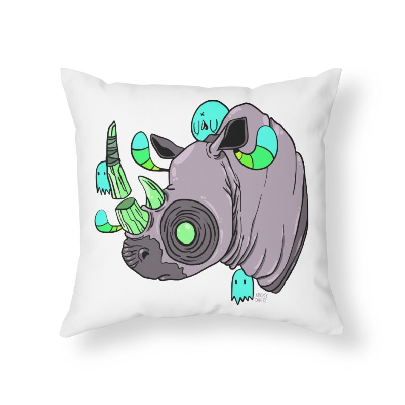 Save The Rhinos Home Throw Pillow by Nicky Davis Threadless Shop