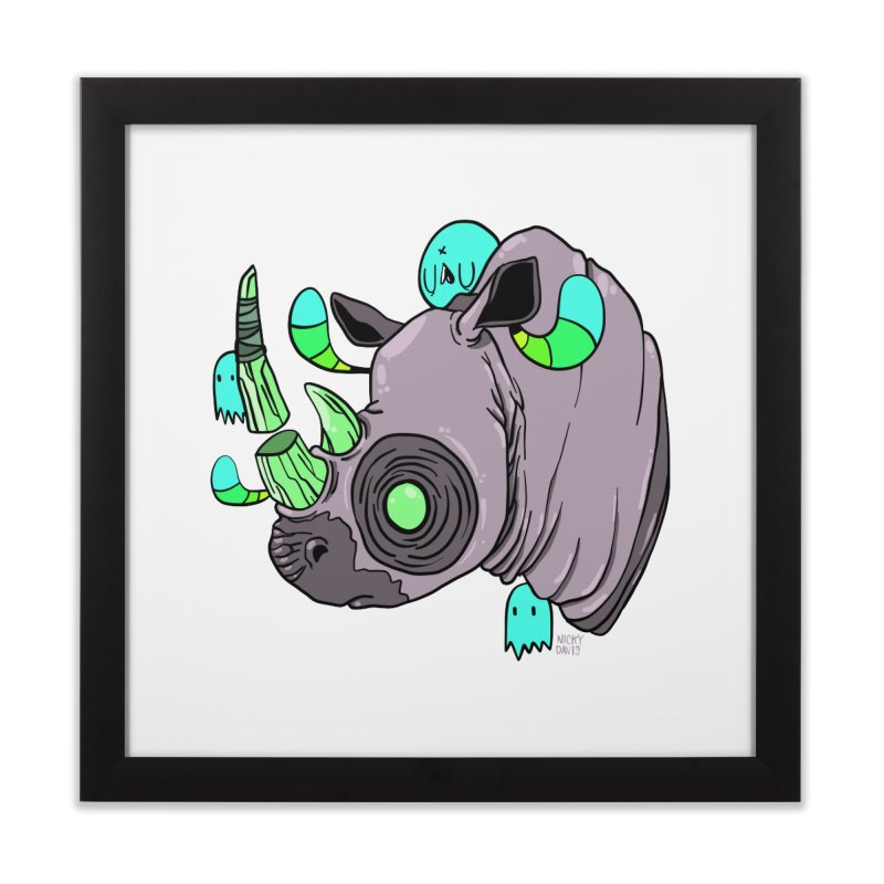 Save The Rhinos Home Framed Fine Art Print by Nicky Davis Threadless Shop