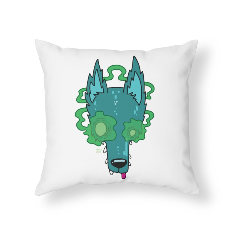 WOLF Home Throw Pillow by Nicky Davis Threadless Shop