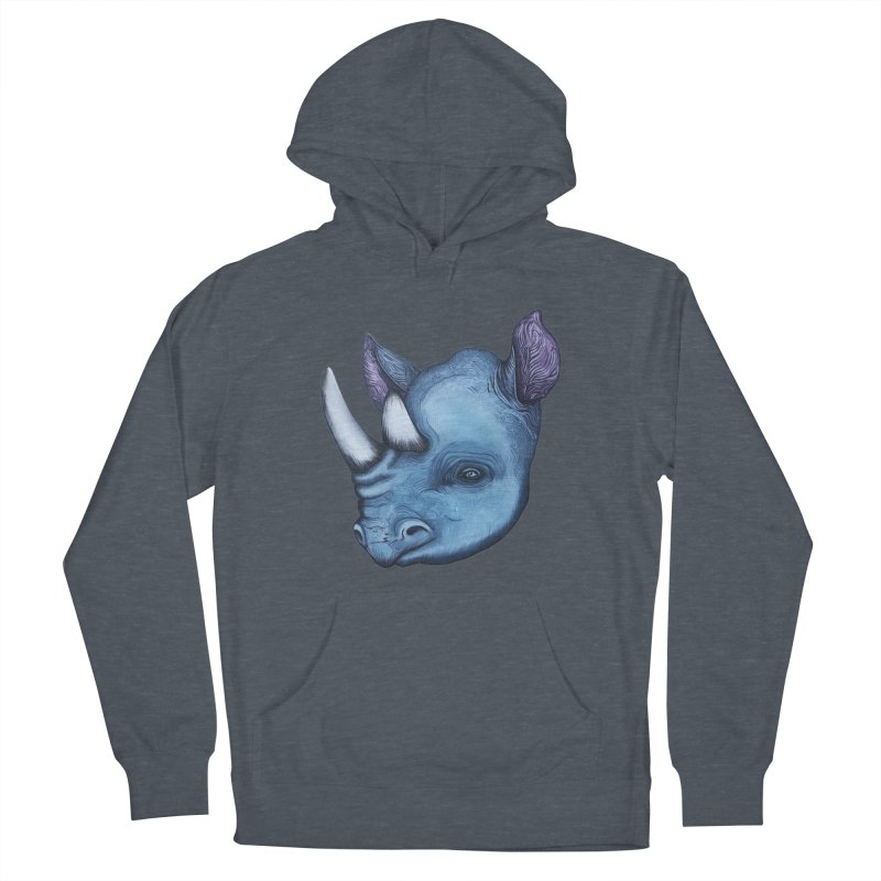 Rhino Men's French Terry Pullover Hoody by Nicole Christman's Artist Shop