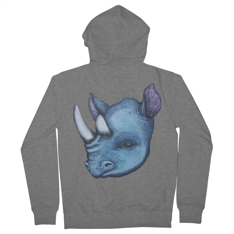 Rhino Women's French Terry Zip-Up Hoody by Nicole Christman's Artist Shop