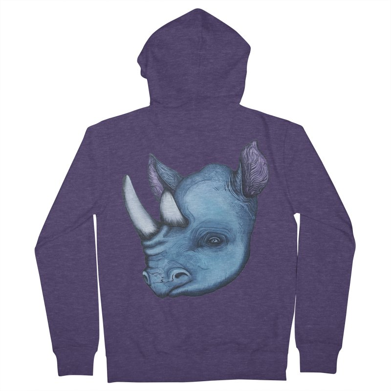 Rhino Men's French Terry Zip-Up Hoody by Nicole Christman's Artist Shop