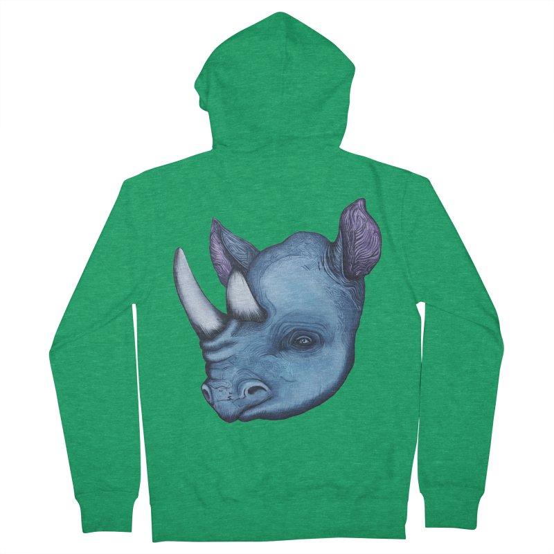 Rhino Men's Zip-Up Hoody by Nicole Christman's Artist Shop