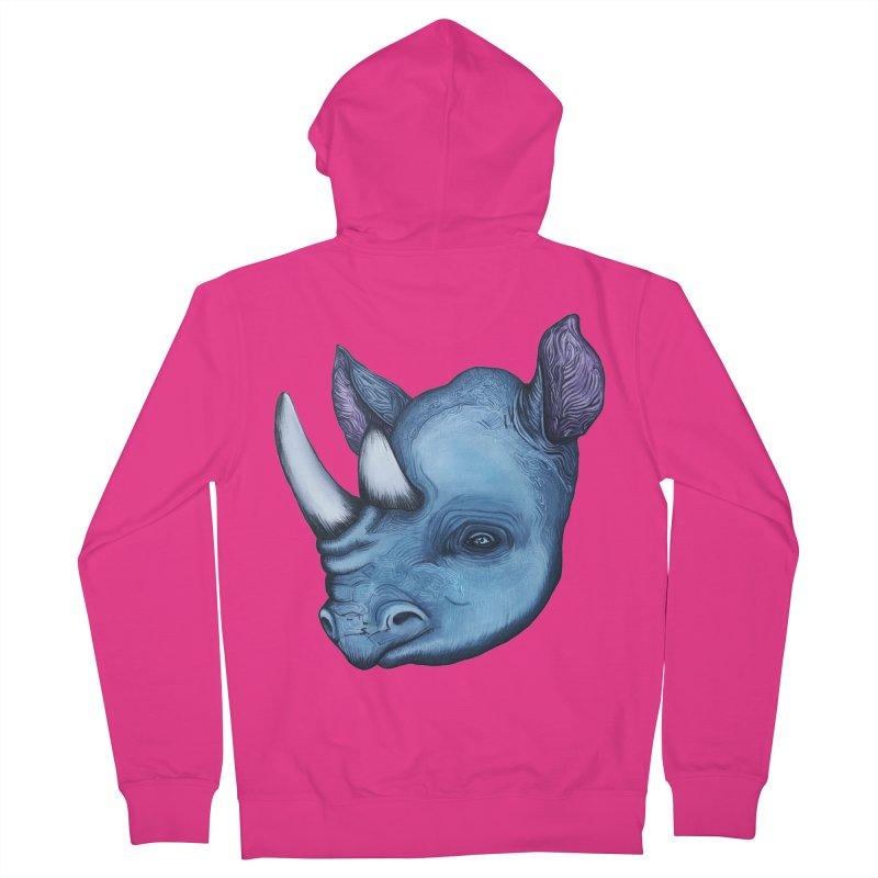 Rhino Men's French Terry Zip-Up Hoody by Nicole Christman's Artist Shop