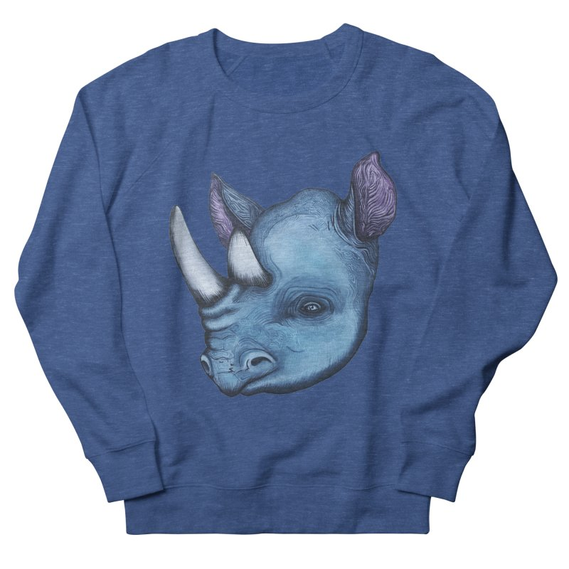 Rhino Men's French Terry Sweatshirt by Nicole Christman's Artist Shop