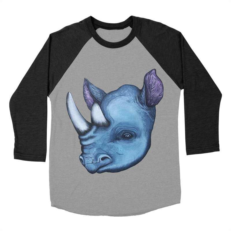 Rhino Women's Baseball Triblend Longsleeve T-Shirt by Nicole Christman's Artist Shop