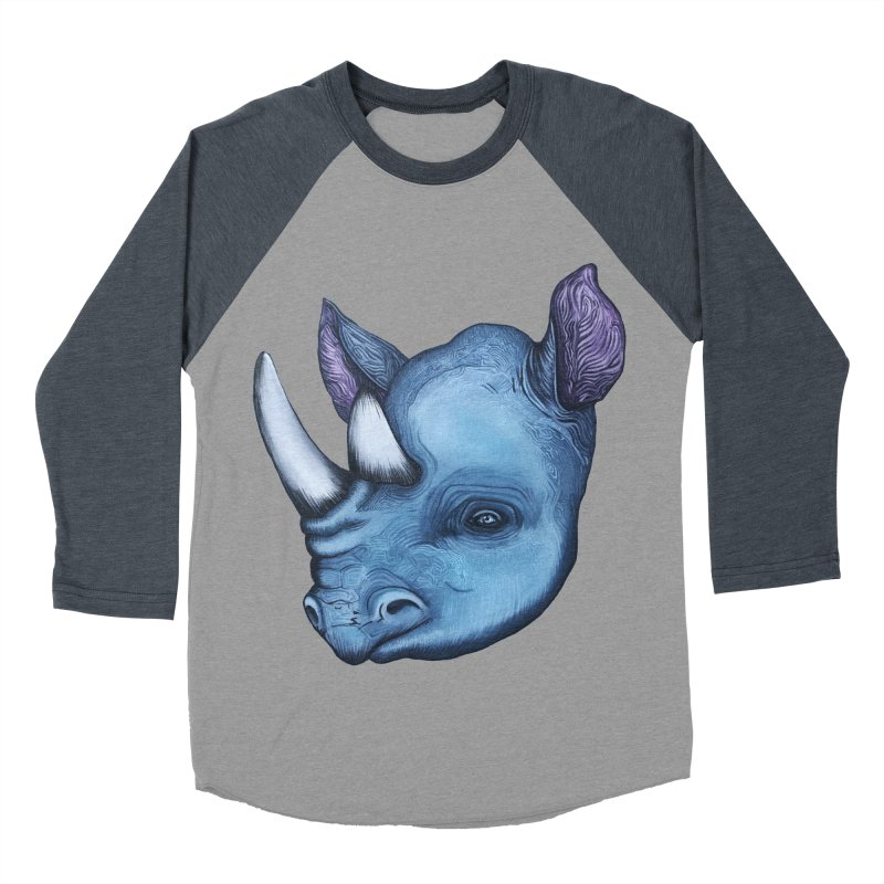 Rhino Men's Baseball Triblend Longsleeve T-Shirt by Nicole Christman's Artist Shop