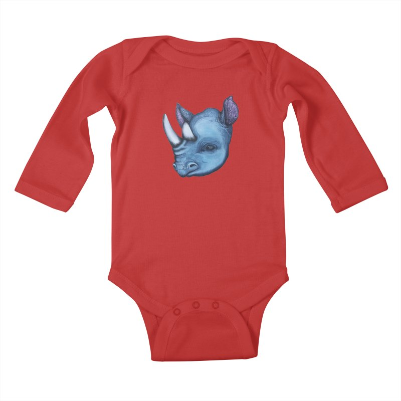 Rhino Kids Baby Longsleeve Bodysuit by Nicole Christman's Artist Shop