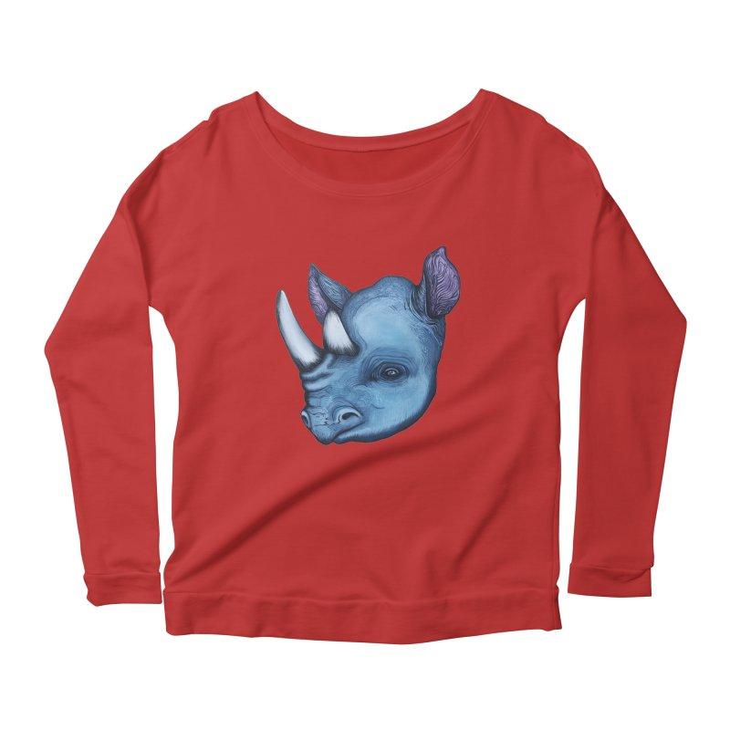 Rhino Women's Scoop Neck Longsleeve T-Shirt by Nicole Christman's Artist Shop