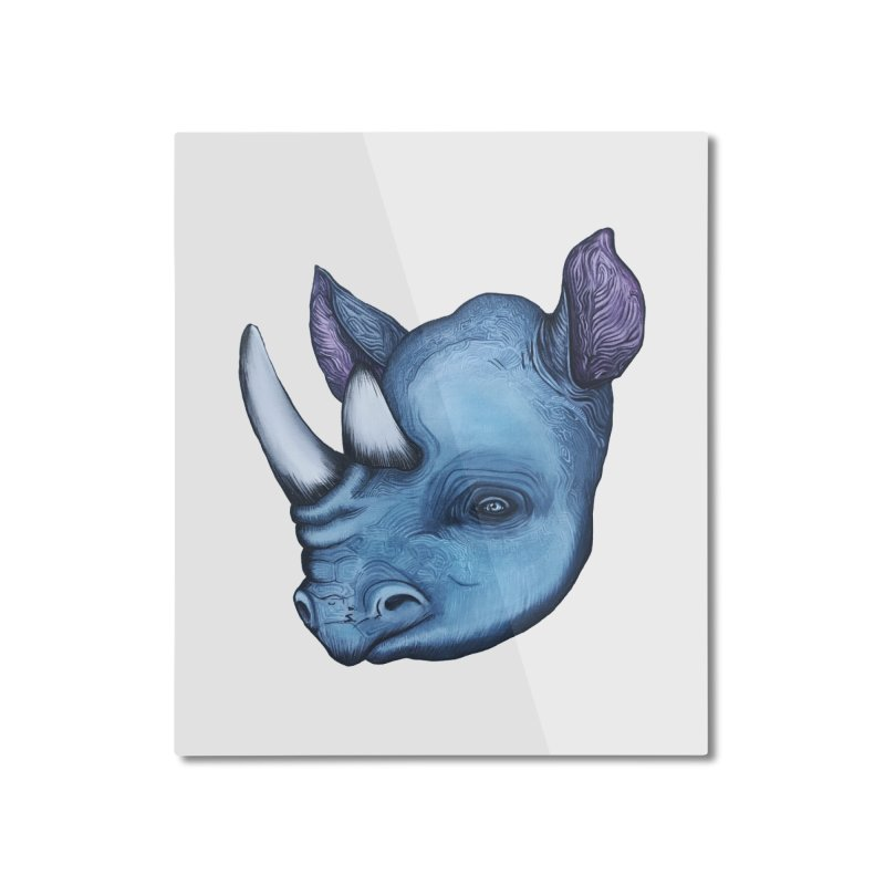 Rhino Home Mounted Aluminum Print by Nicole Christman's Artist Shop