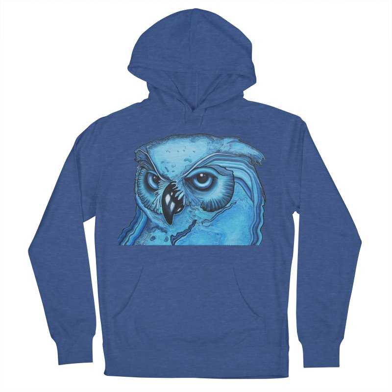 Blue Owl Men's French Terry Pullover Hoody by Nicole Christman's Artist Shop