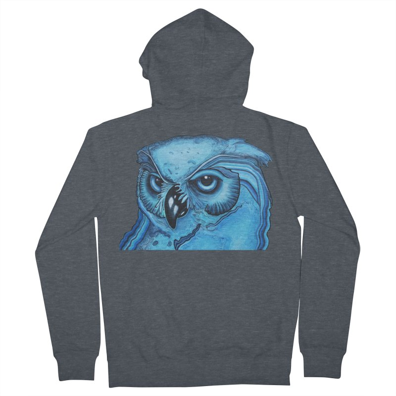 Blue Owl Men's French Terry Zip-Up Hoody by Nicole Christman's Artist Shop