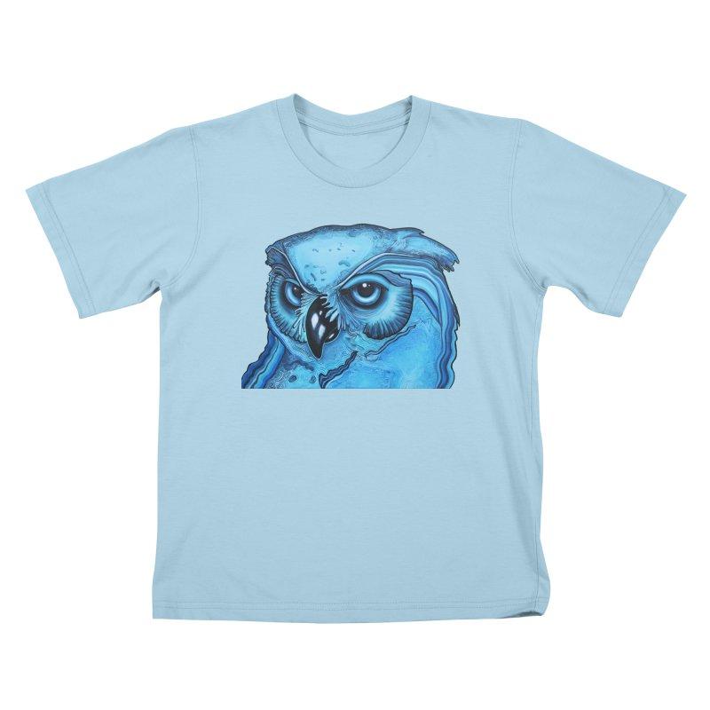 Blue Owl Kids T-Shirt by Nicole Christman's Artist Shop