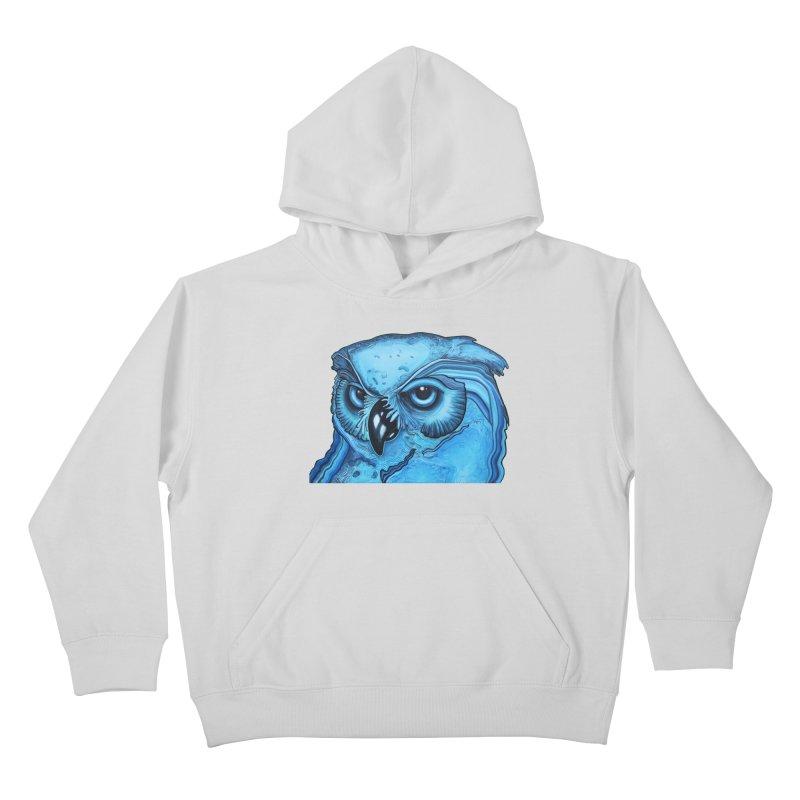 Blue Owl Kids Pullover Hoody by Nicole Christman's Artist Shop