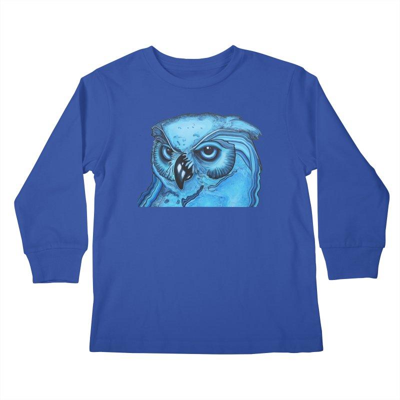 Blue Owl Kids Longsleeve T-Shirt by Nicole Christman's Artist Shop