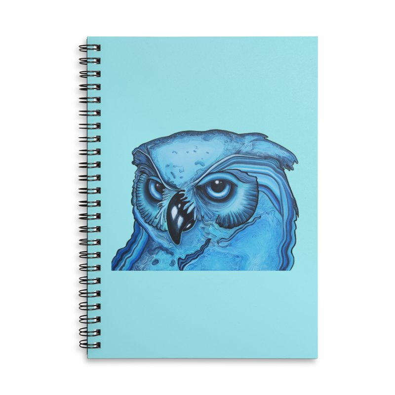 Blue Owl Accessories Lined Spiral Notebook by Nicole Christman's Artist Shop