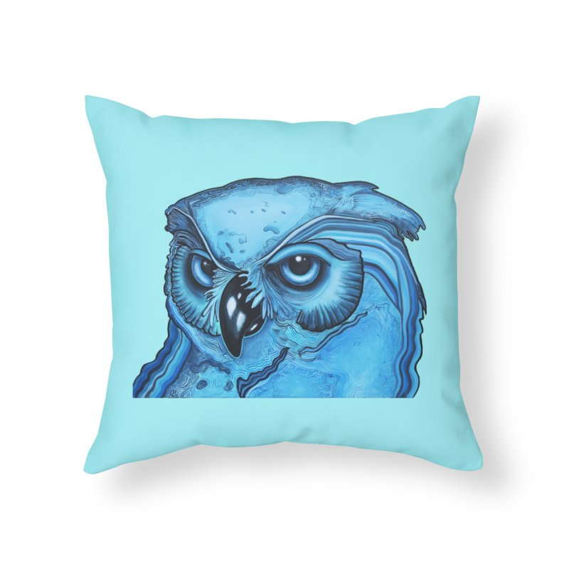 Blue Owl Home Throw Pillow by Nicole Christman's Artist Shop