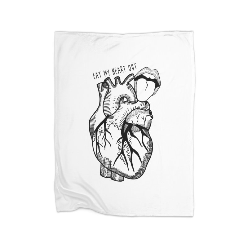 Eat My Heart Out Home Fleece Blanket Blanket by Nicole Christman's Artist Shop