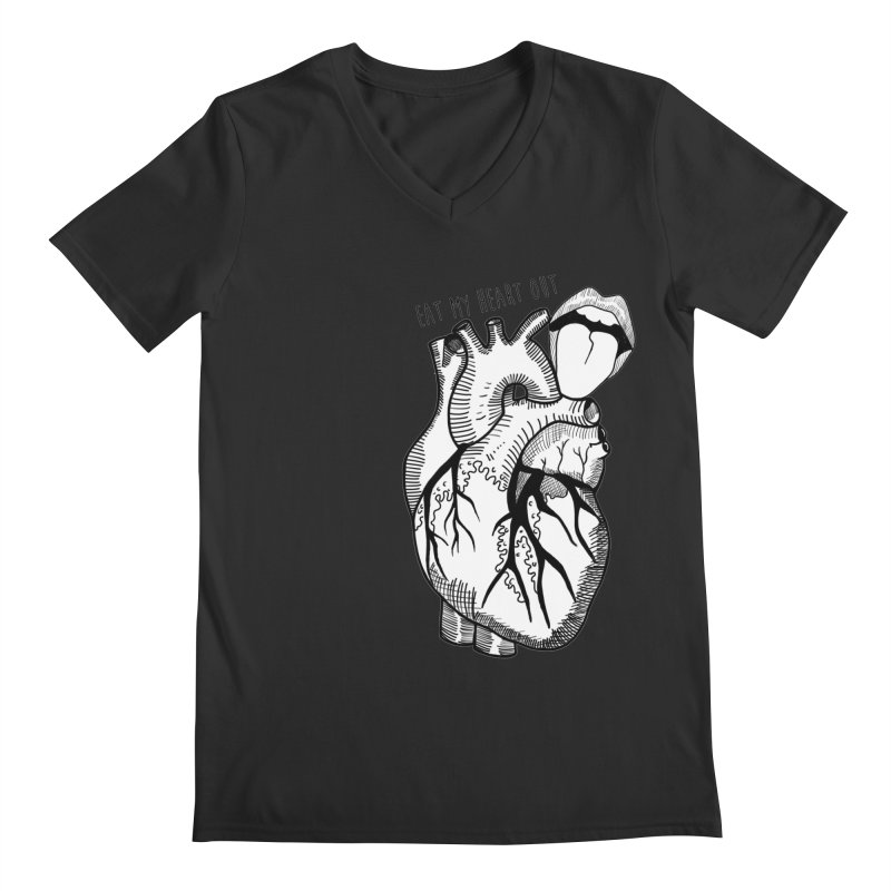 Eat My Heart Out Men's Regular V-Neck by Nicole Christman's Artist Shop