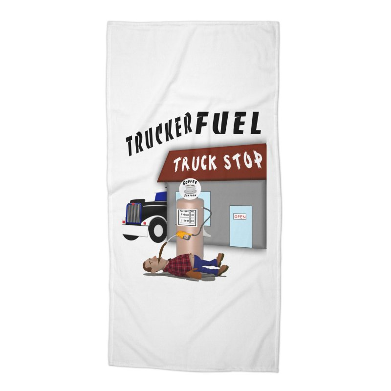 Trucker Fuel Truck Stop Accessories Beach Towel by nicolekieferdesign's Artist Shop