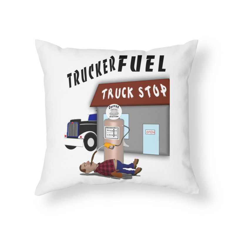 Trucker Fuel Truck Stop Home Throw Pillow by nicolekieferdesign's Artist Shop